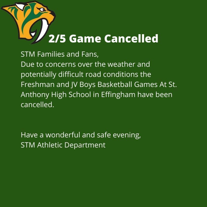 2/5 Freshman & JV boys basketball games cancelled.