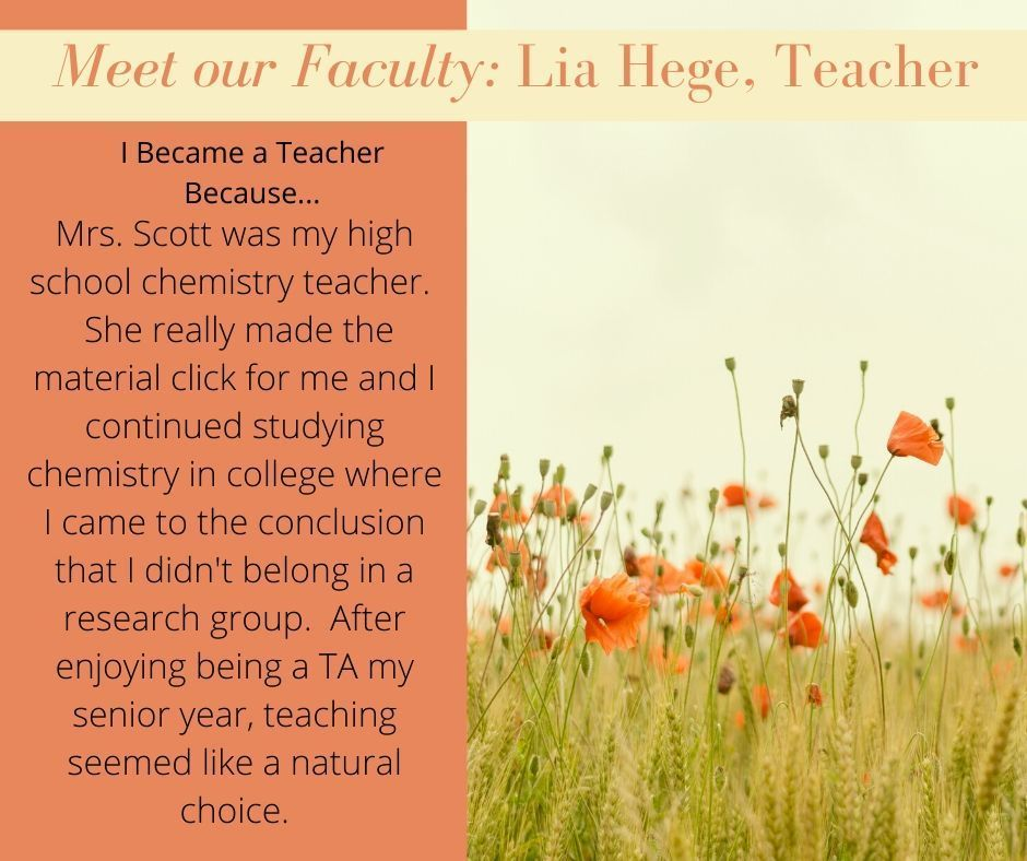 Lia Hege, our next Faculty Spotlight!